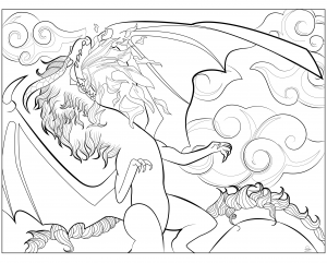 Coloring page adult Dragon by Juline