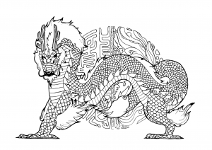 Coloring Dragon By Pauline Big With Mandala Inspired Chinese Calligraphy In Backgound