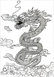 an incredible dragon slipping through the clouds by alexis - Coloring Page Dragon