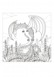 Coloring page adults monster dragon