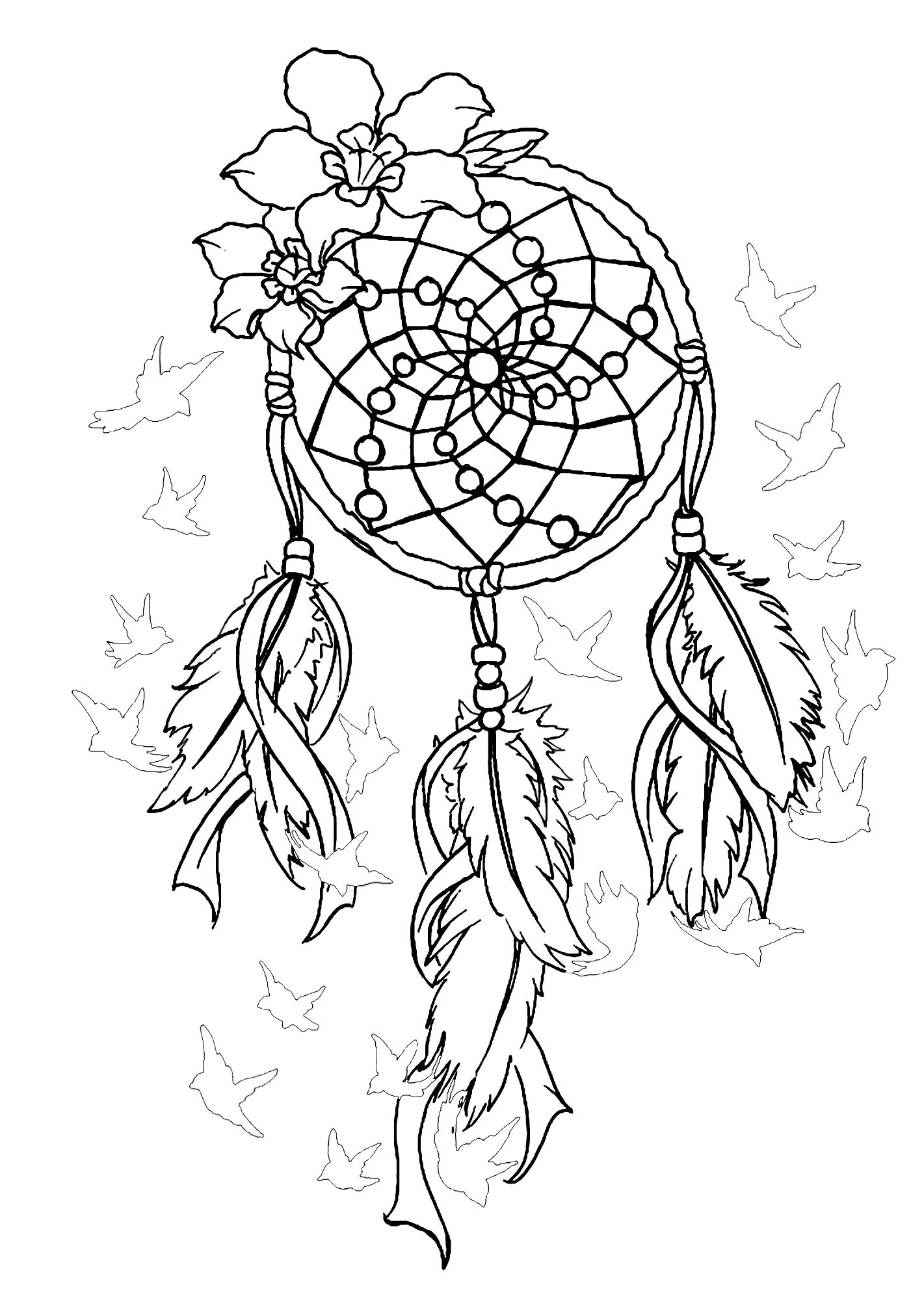 Coloring page of a magnificent dreamcatcher with birds