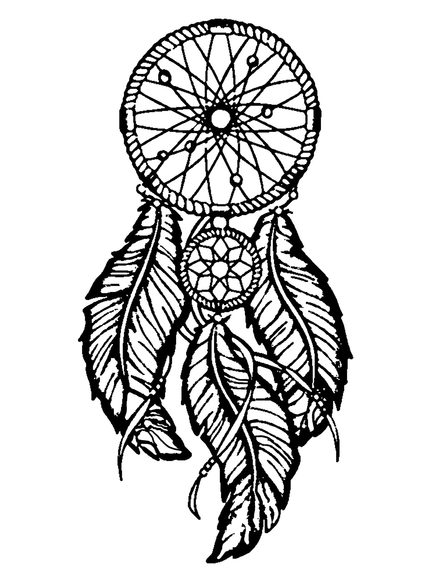 Dreamcatcher to print and color : big feathers
