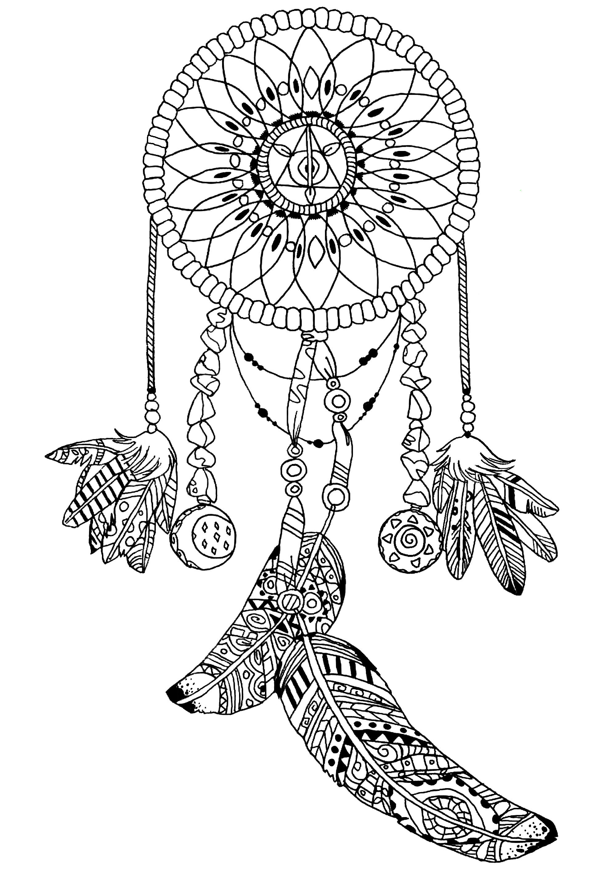 coloring page dreamcatcher by pauline beautiful dreamcatcher to print