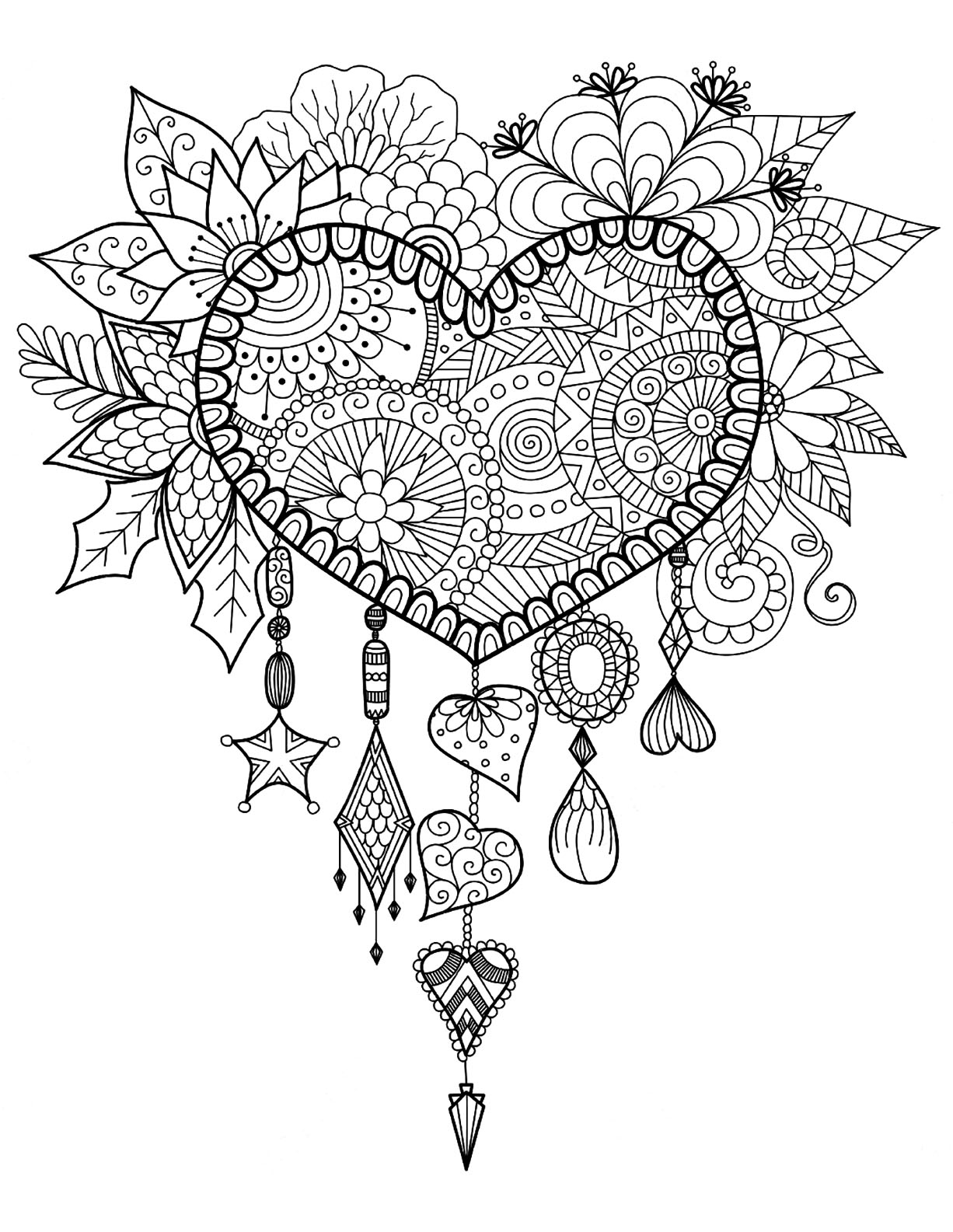 Dreamcatcher to print and color : heart