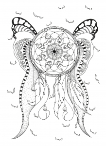 photograph regarding Legend of the Dreamcatcher Printable named Dreamcatchers - Coloring Internet pages for Older people