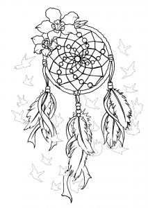 Coloring dreamcatcher to print 2