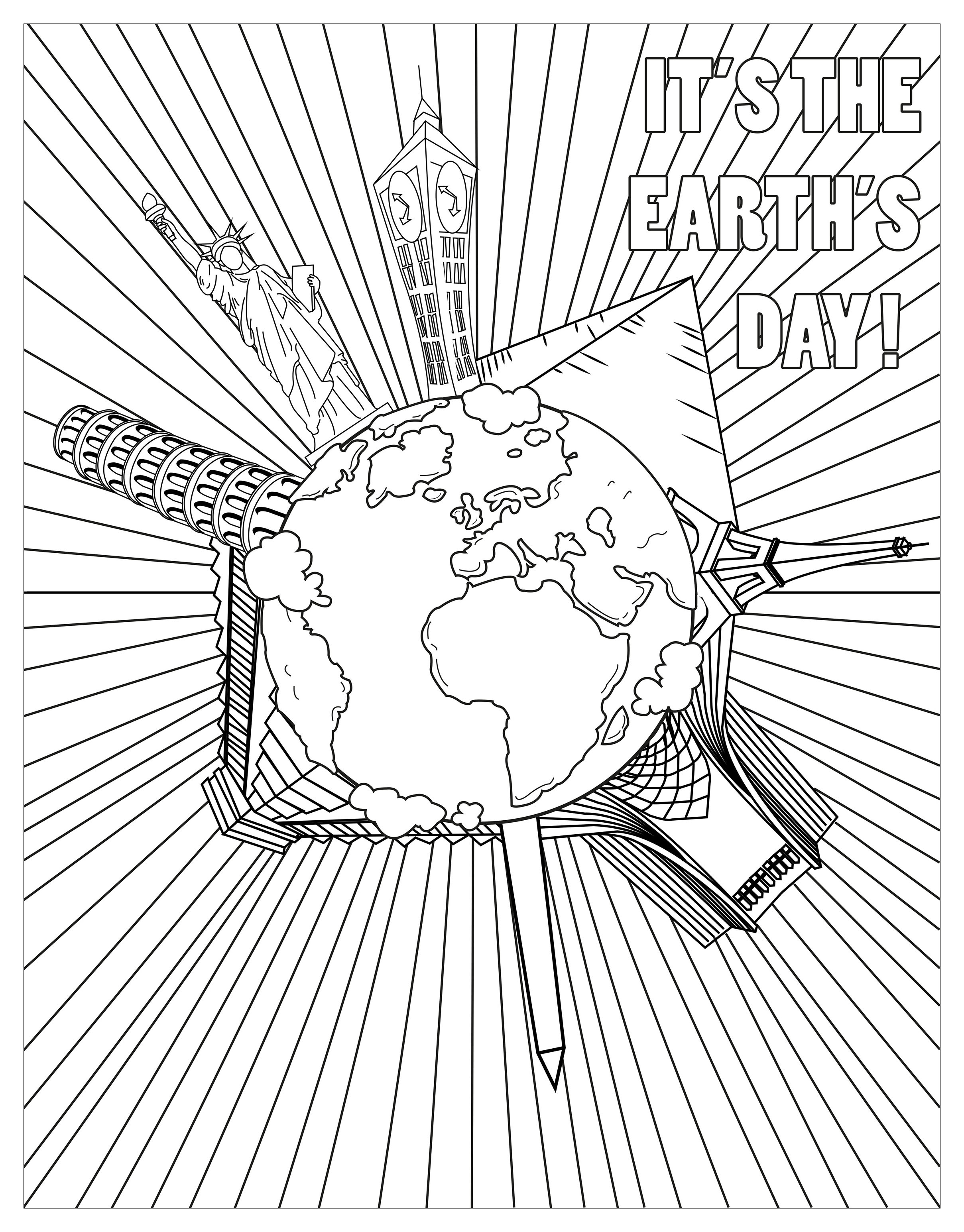 Earth day monuments - Earth Day Adult Coloring Pages