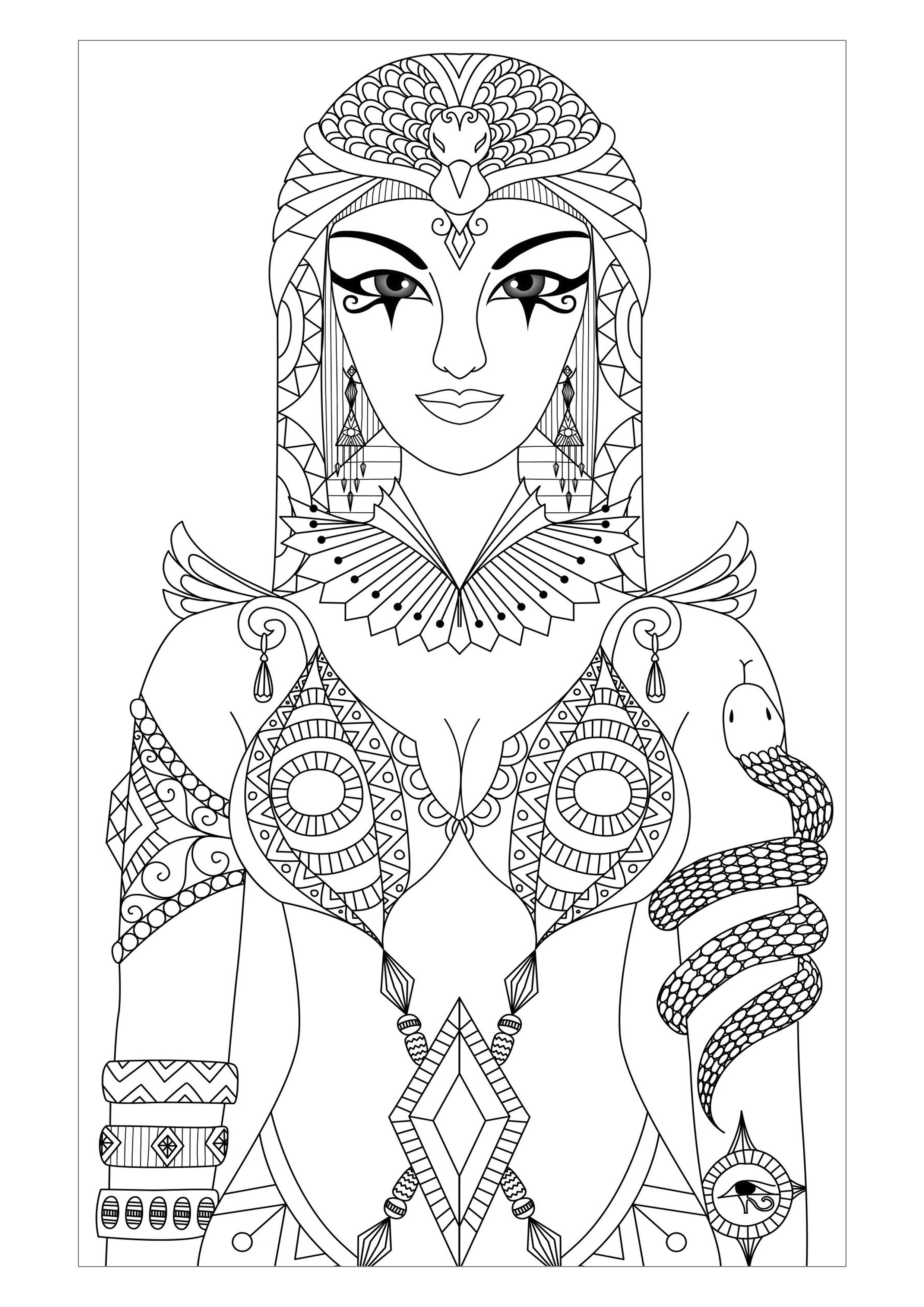 Coloring Adult Egypt Cleopatra Queen By Bimdeedee