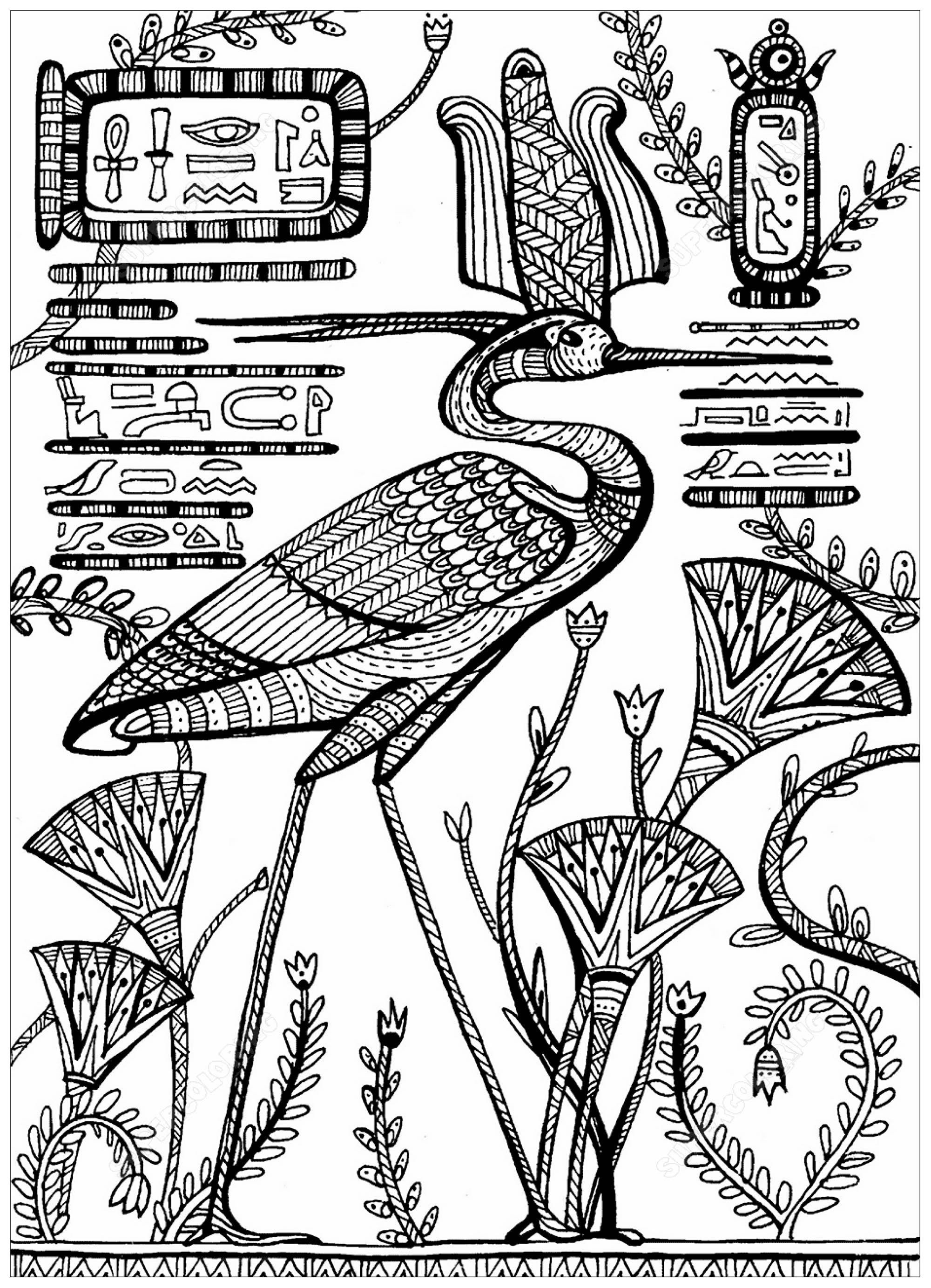 Egypt hieroglyphs coloring pages for adults justcolor coloring bennu an ancient egyptian deity depicted as stork biocorpaavc