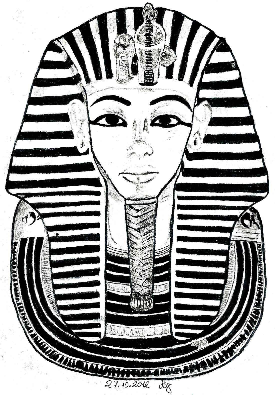 Egypt Mask Toutankhamon Egypt Adult Coloring Pages