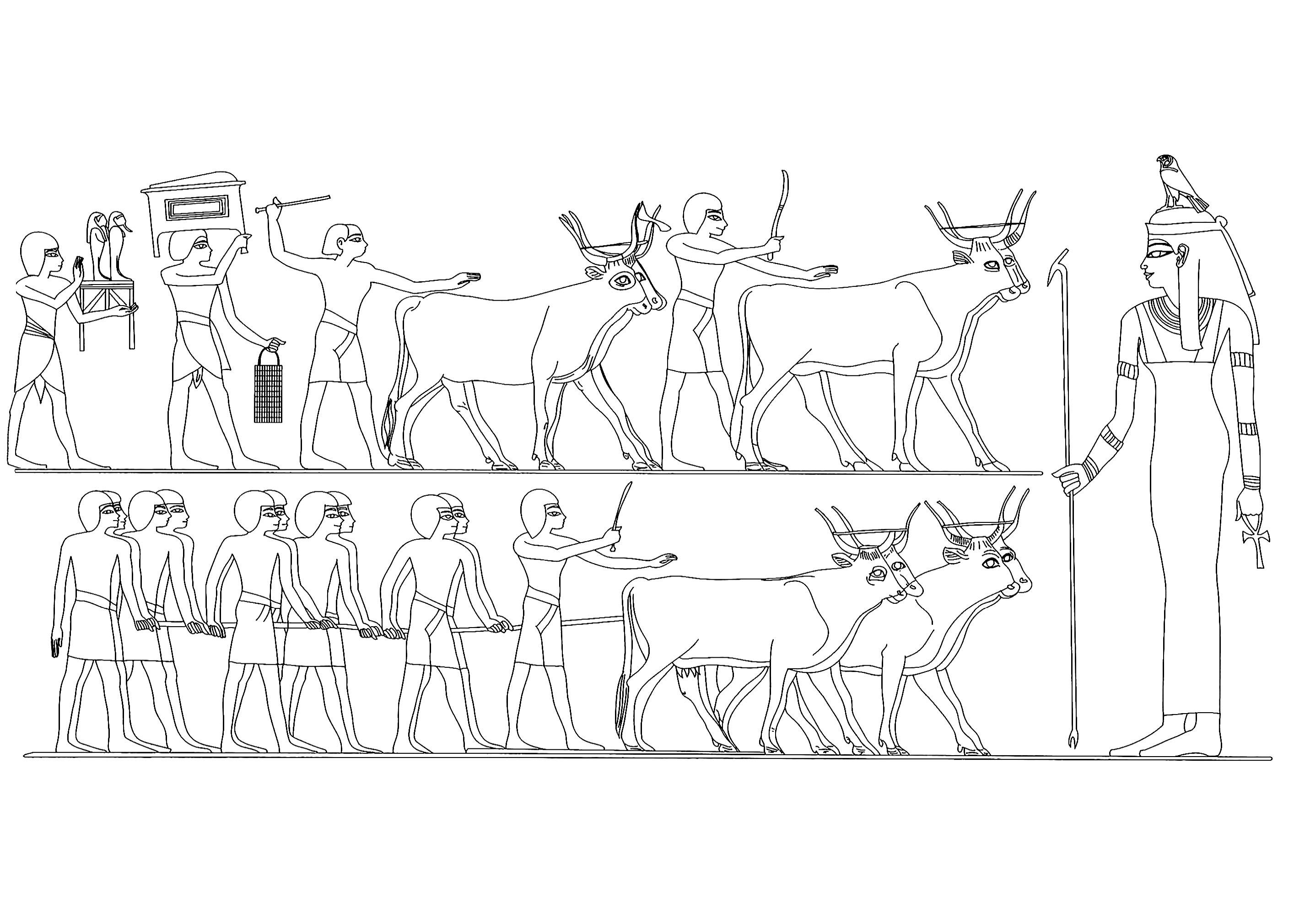 Procession funéraire avec la déesse Imentèt (déesse de l'Occident). Dessin réalisé à partir d'une peinture du Tombeau de Menna en Egypte
