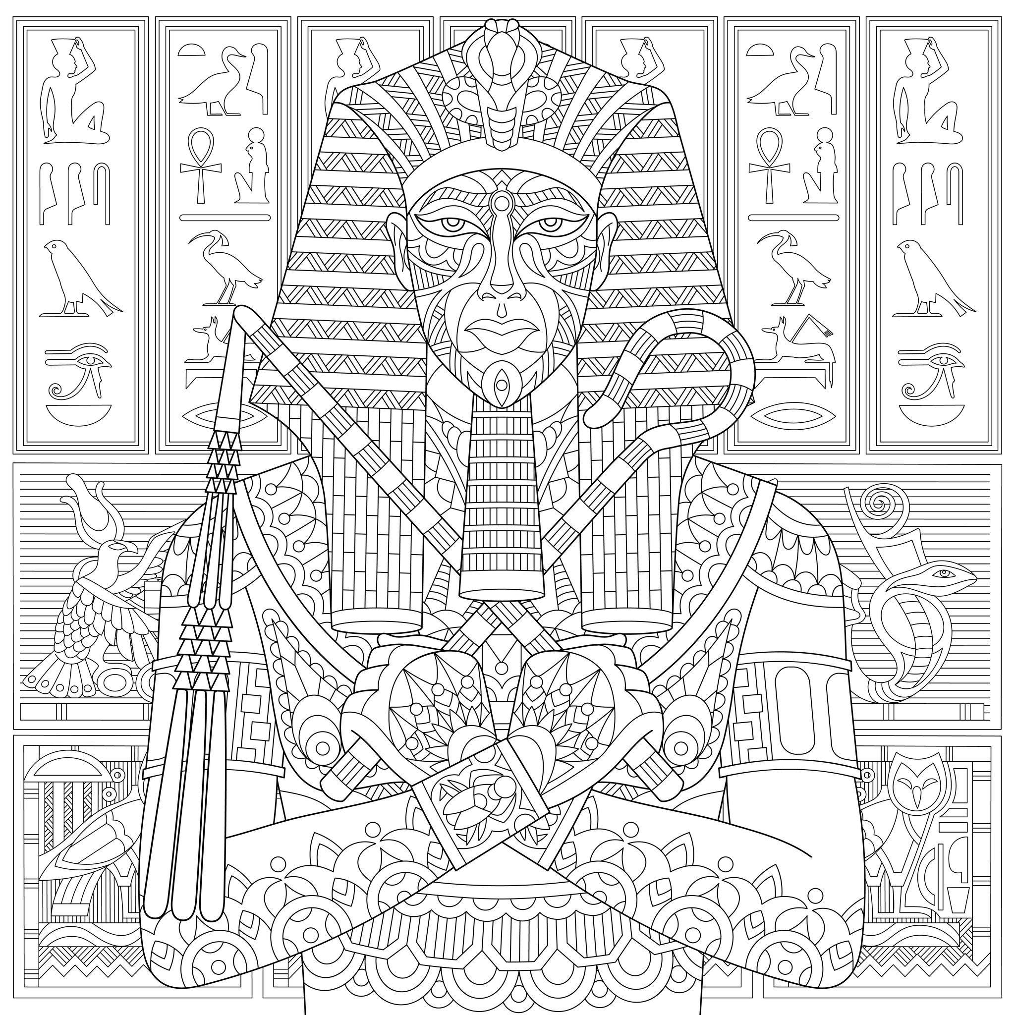 Pharaoh from ancient egypt egypt hieroglyphs coloring pages pharaoh from ancient egypt egypt hieroglyphs coloring pages for adults justcolor biocorpaavc