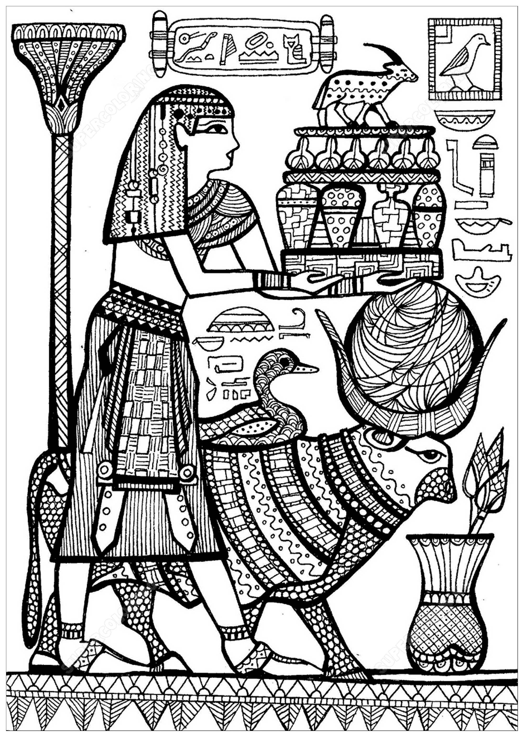 Coloring priest and sacred animals of ancient egypt