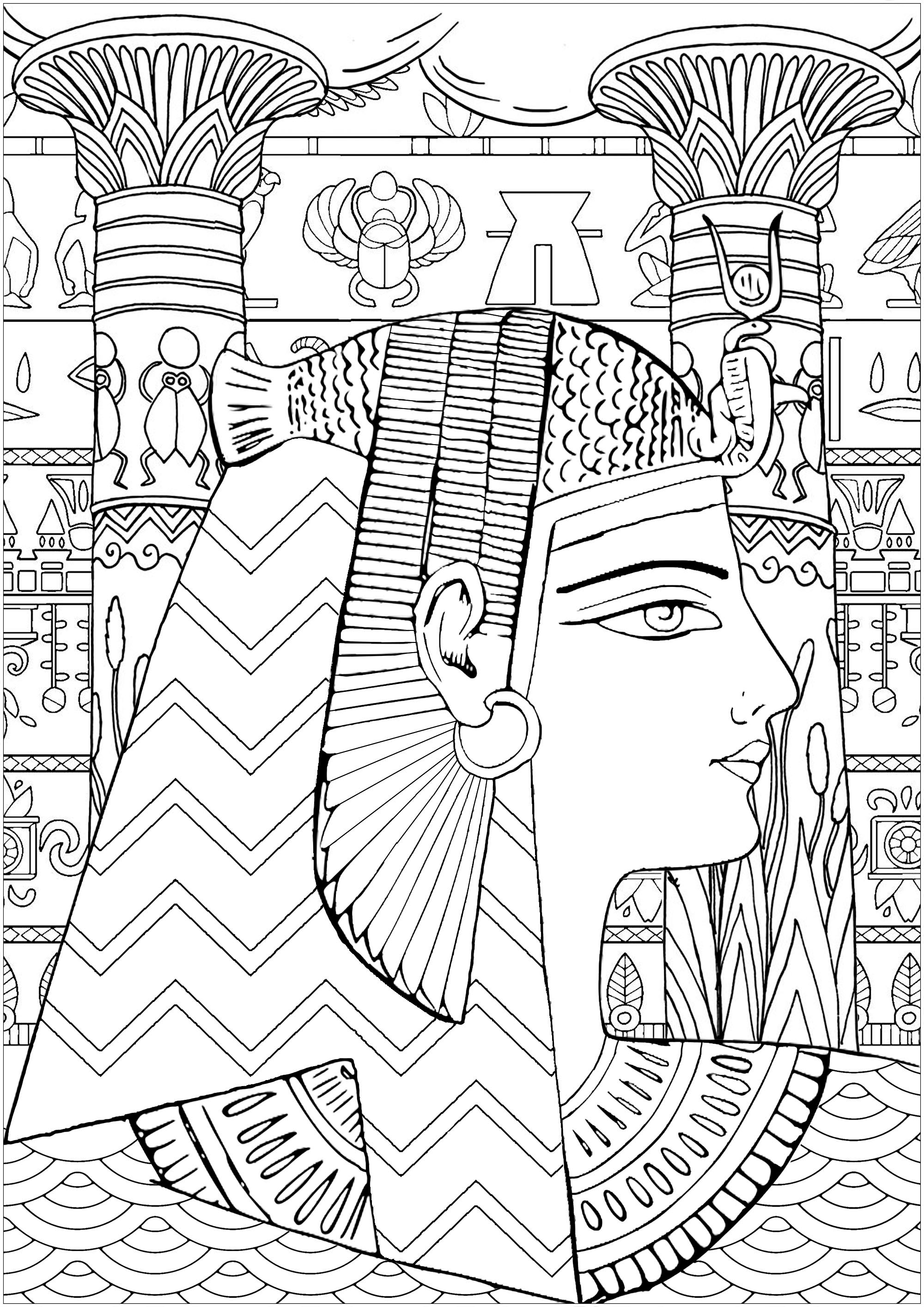 Color this beautiful Queen of Egypt with typical patterns, temple pillars and hieroglyphs in background - Difficult version