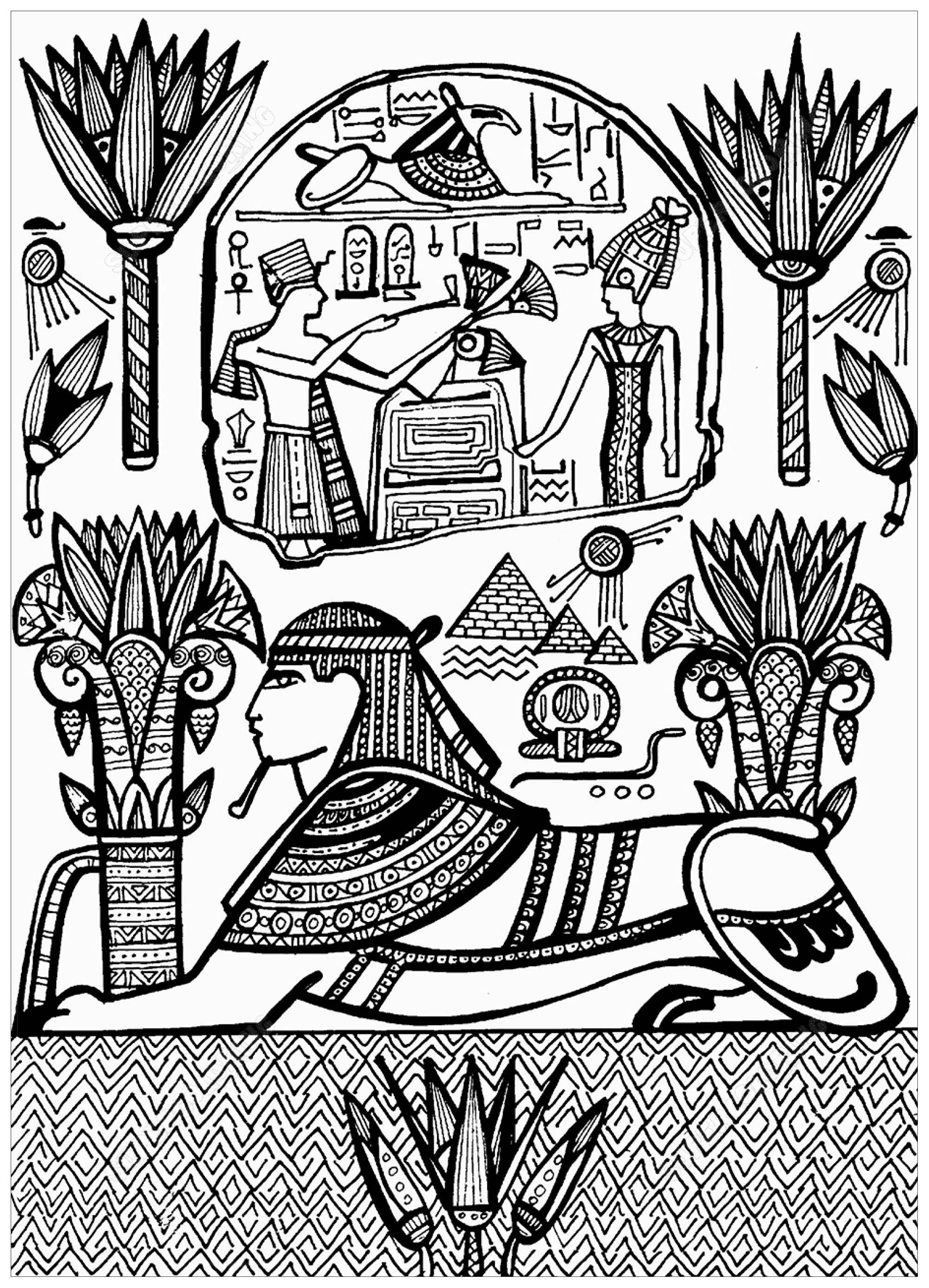 Drawing representing Sphynx with Hieroglyphs, inspired by a fresco dating from Ancient Egypt