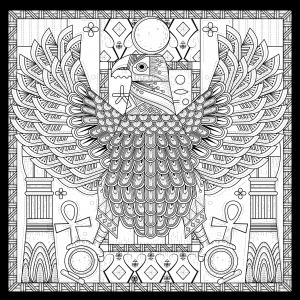 Coloring adult egypt eagle egyptian style with symbols by kchung