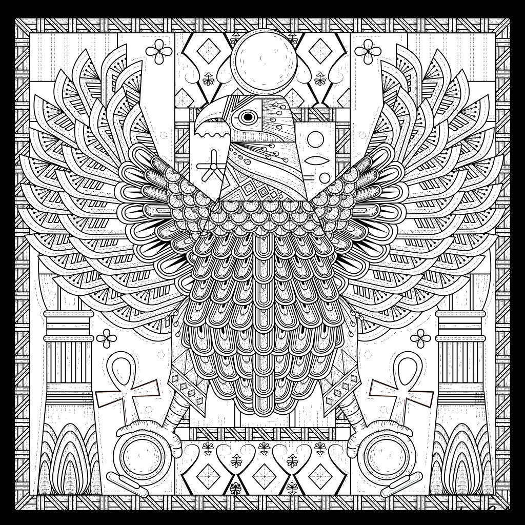 Impressive egyptian eagle adorned with various symbols