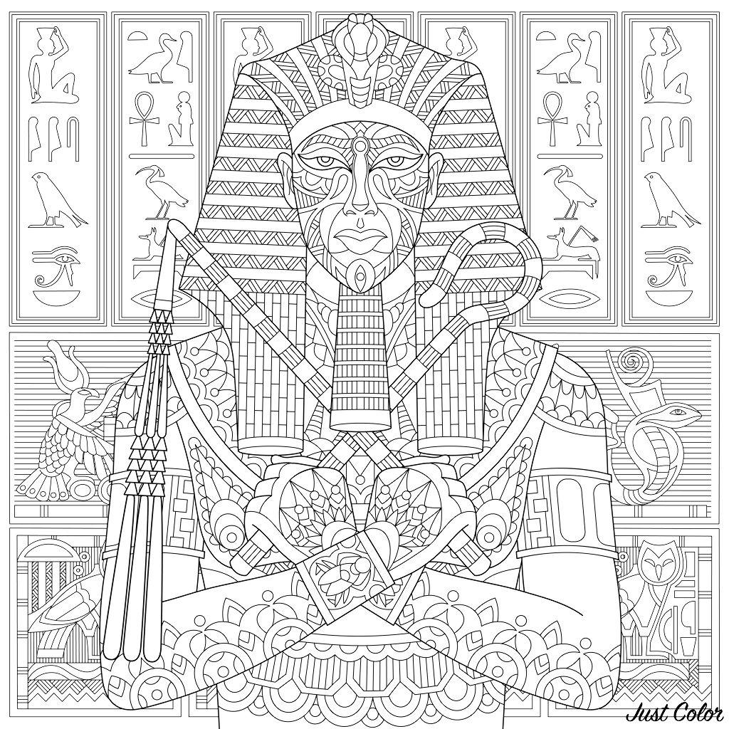 Stylized ancient pharaoh and egyptian symbols (hieroglyphs) on the background.
