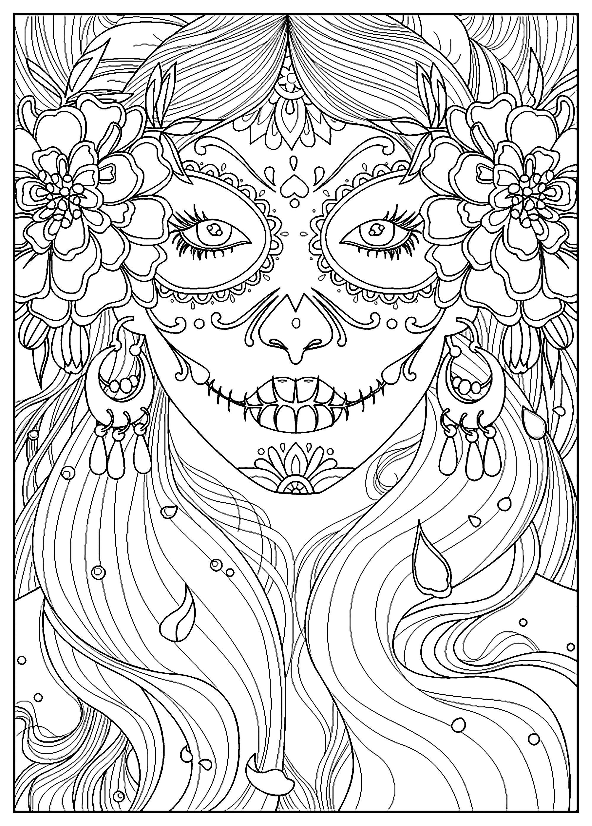 Day Of The Dead El Dia De Los Muertos Adult Coloring Pages
