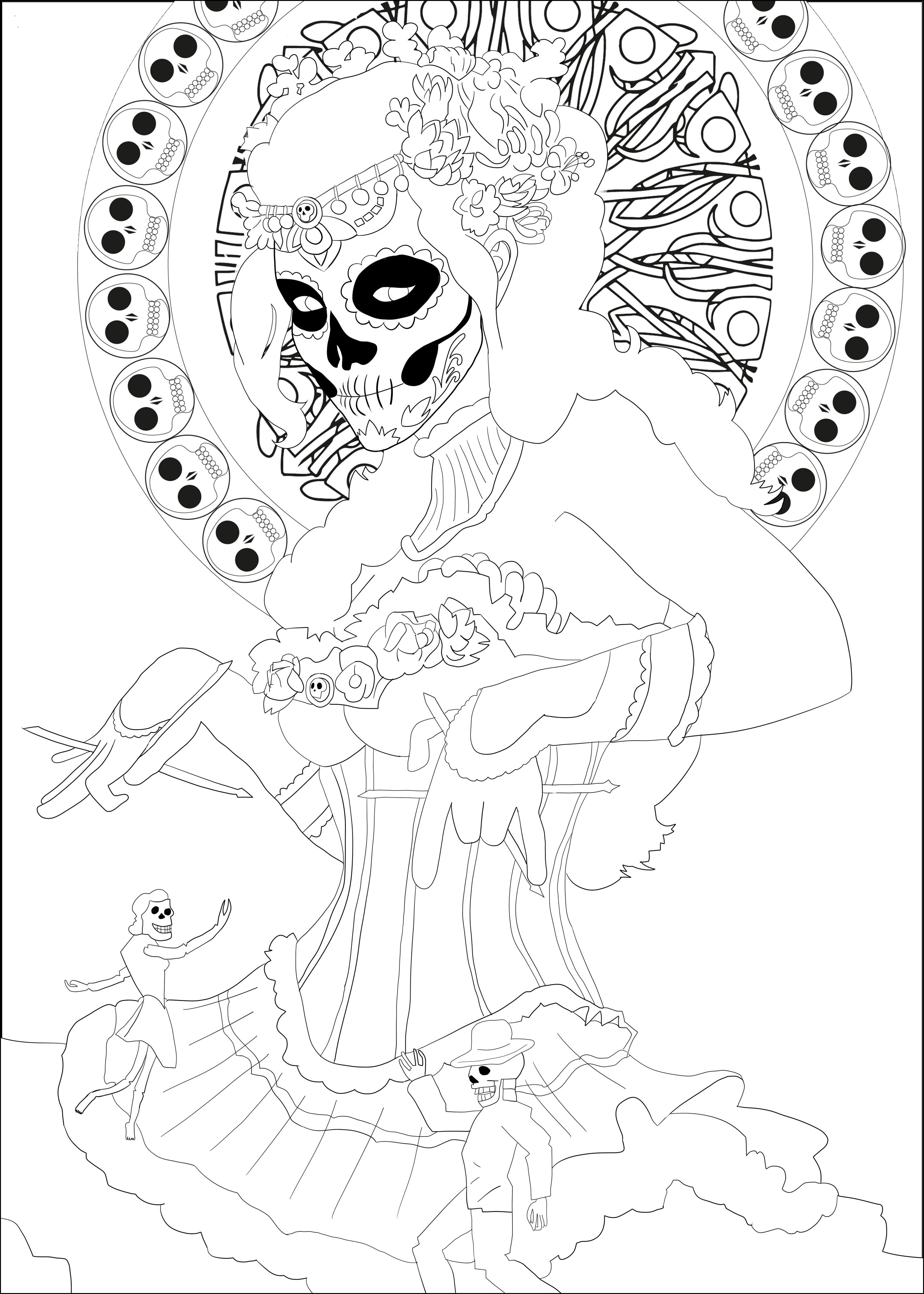 Coloring page inspired by the Mexican celebration 'Día de los Muertos'