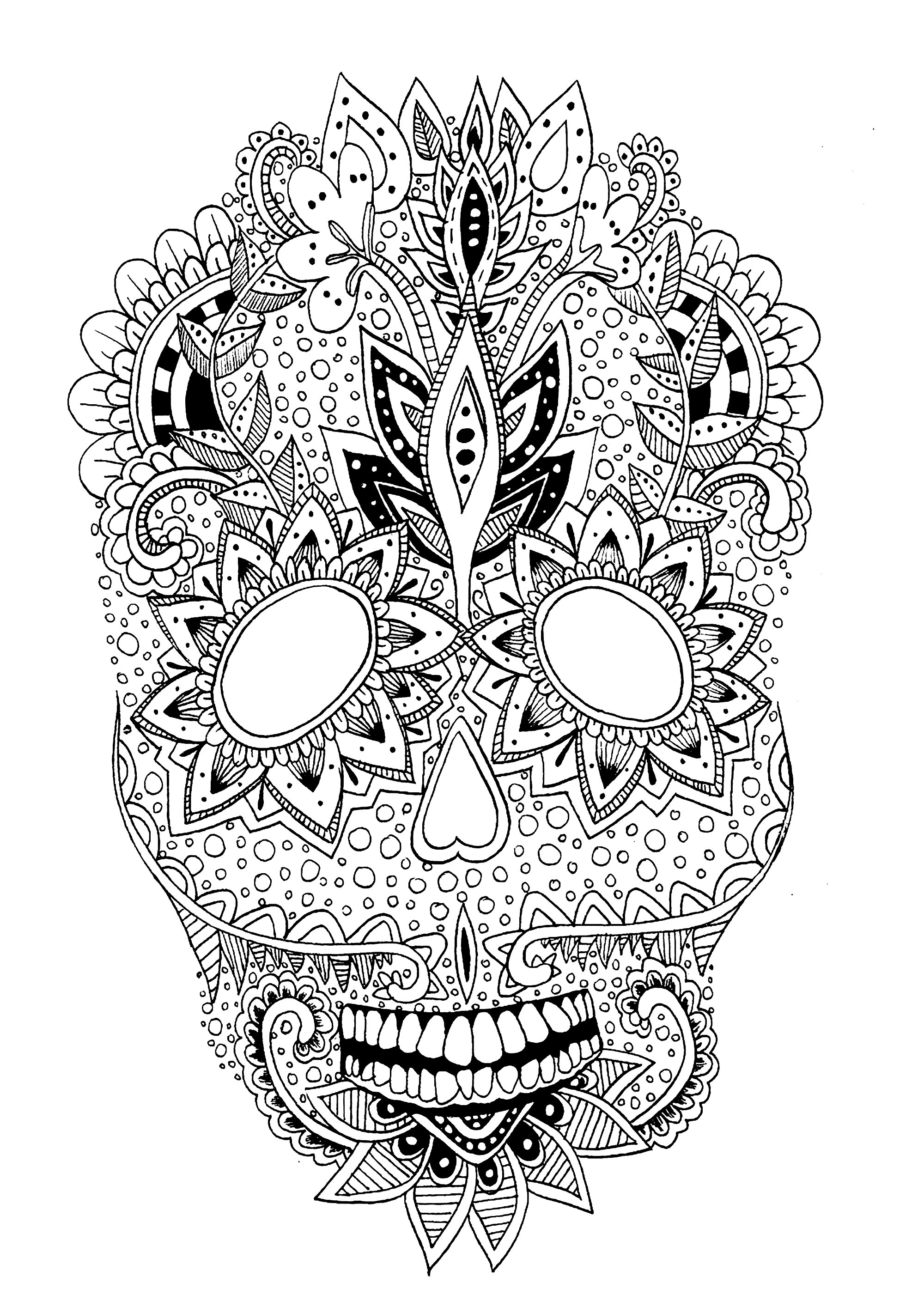 An original skull for a relaxing moment with a coloring page.