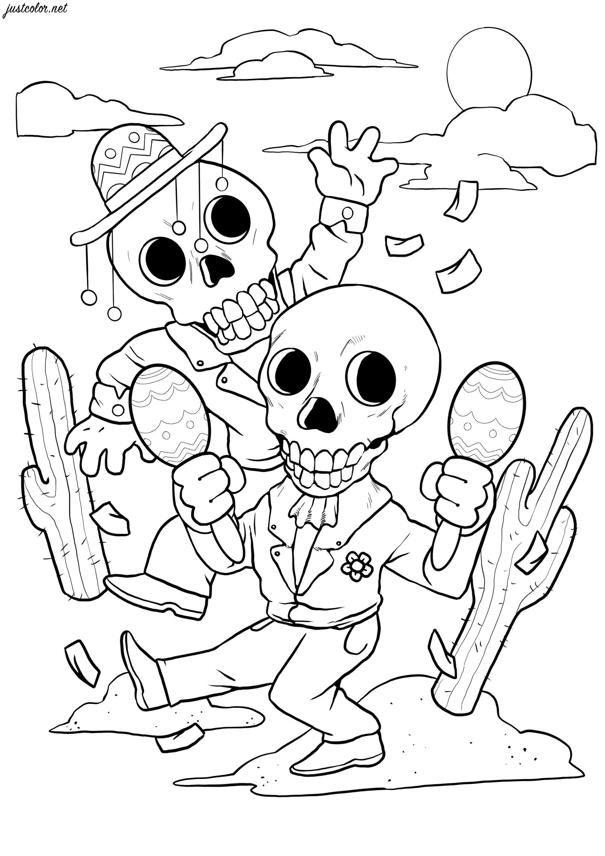 Those two happy skeletons are dancing for El Día de los Muertos