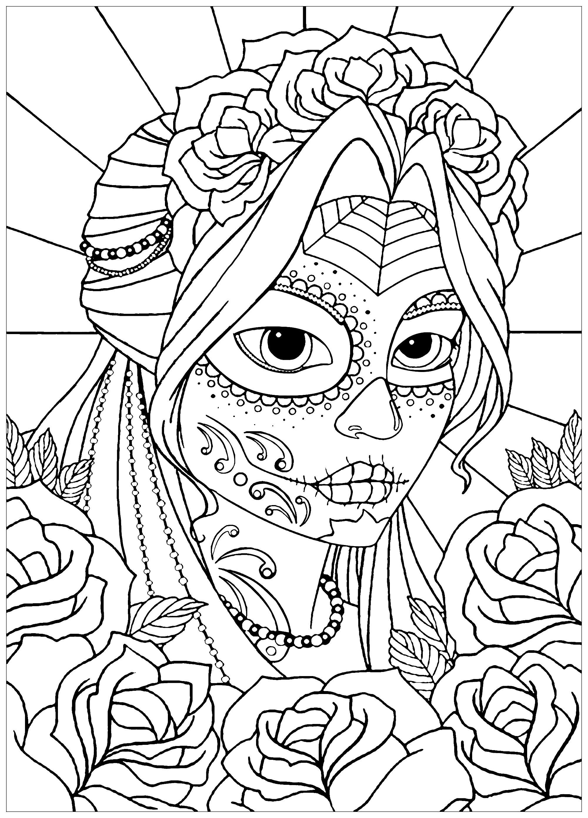 Woman el dia de los muertos el dia de los muertos adult for El dia de los muertos coloring pages