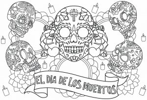 Coloring el dia de los muertos five skulls