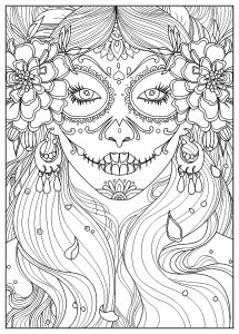 Coloring page adult day of the dead