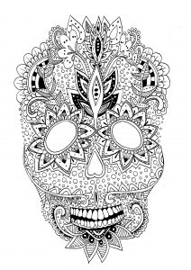Coloring page adults skull details rachel