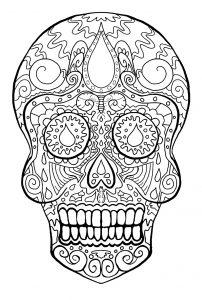 Coloring skull dia de los muertos