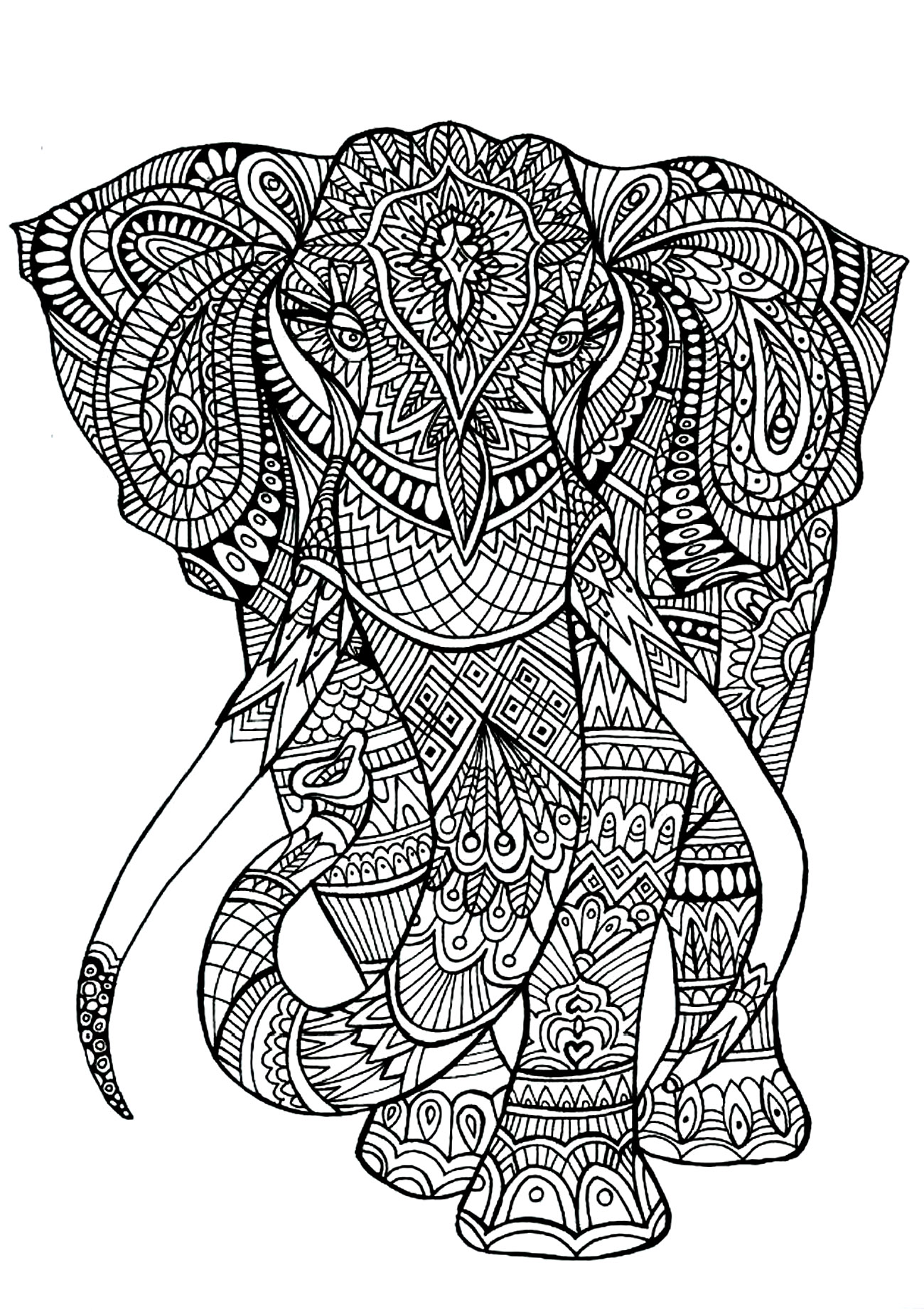 Coloring Page : Elephant Patterns. A Big Elephant Full Of Details