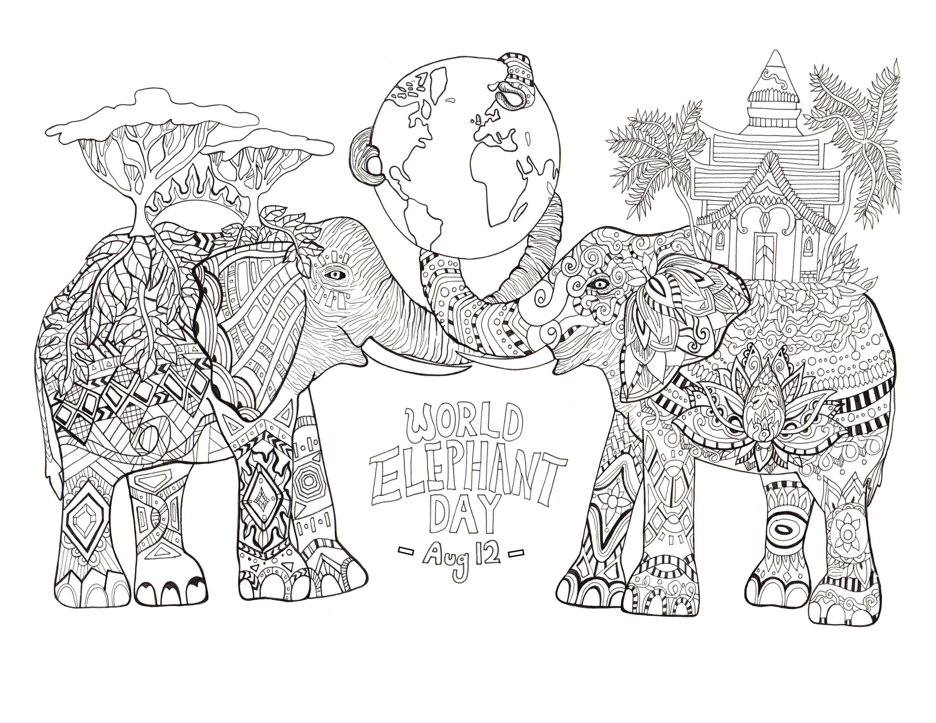 Coloring page drawn by Rylee Postulo for the World Elephant Day (Aug 12)