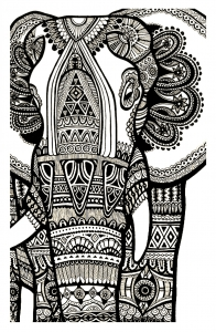 Coloring elephant te print for free