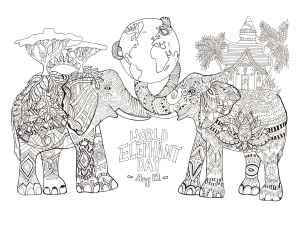 Coloring page world elephant day