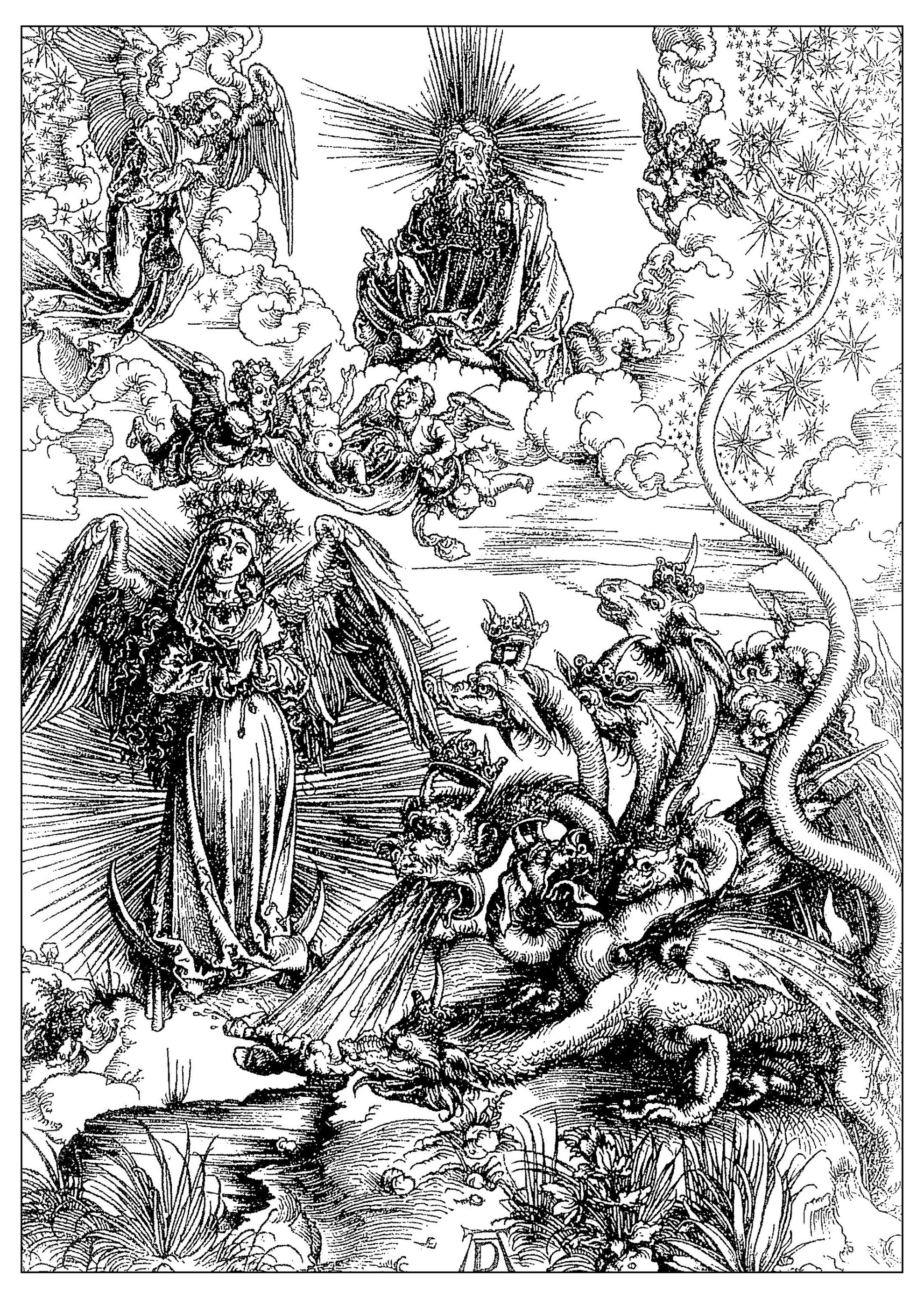 The woman of Apocalyps, engraving by Albrecht Dürer, around 1497