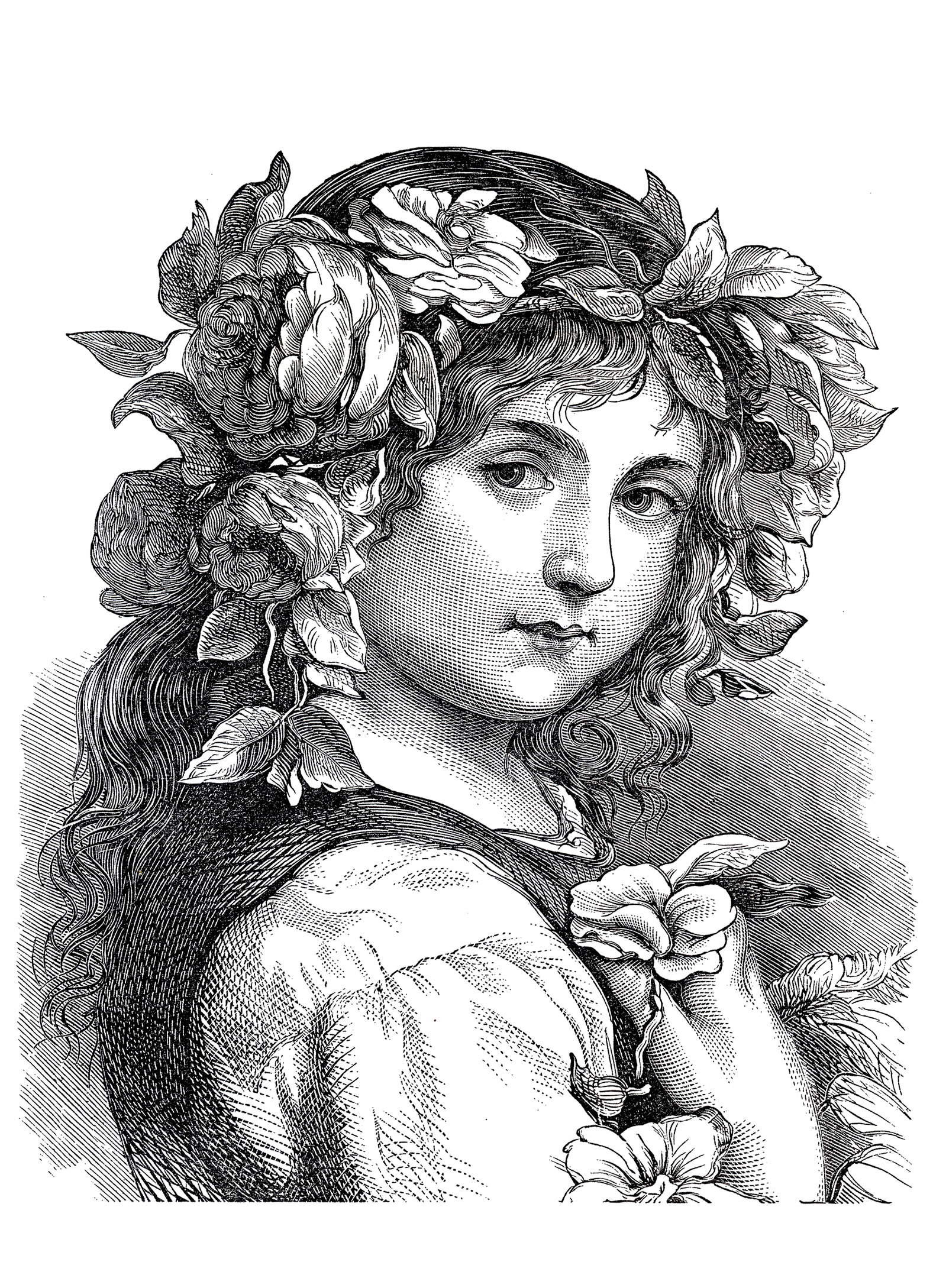 Engraving Flower Girl 1868 Engraving Adult Coloring Pages