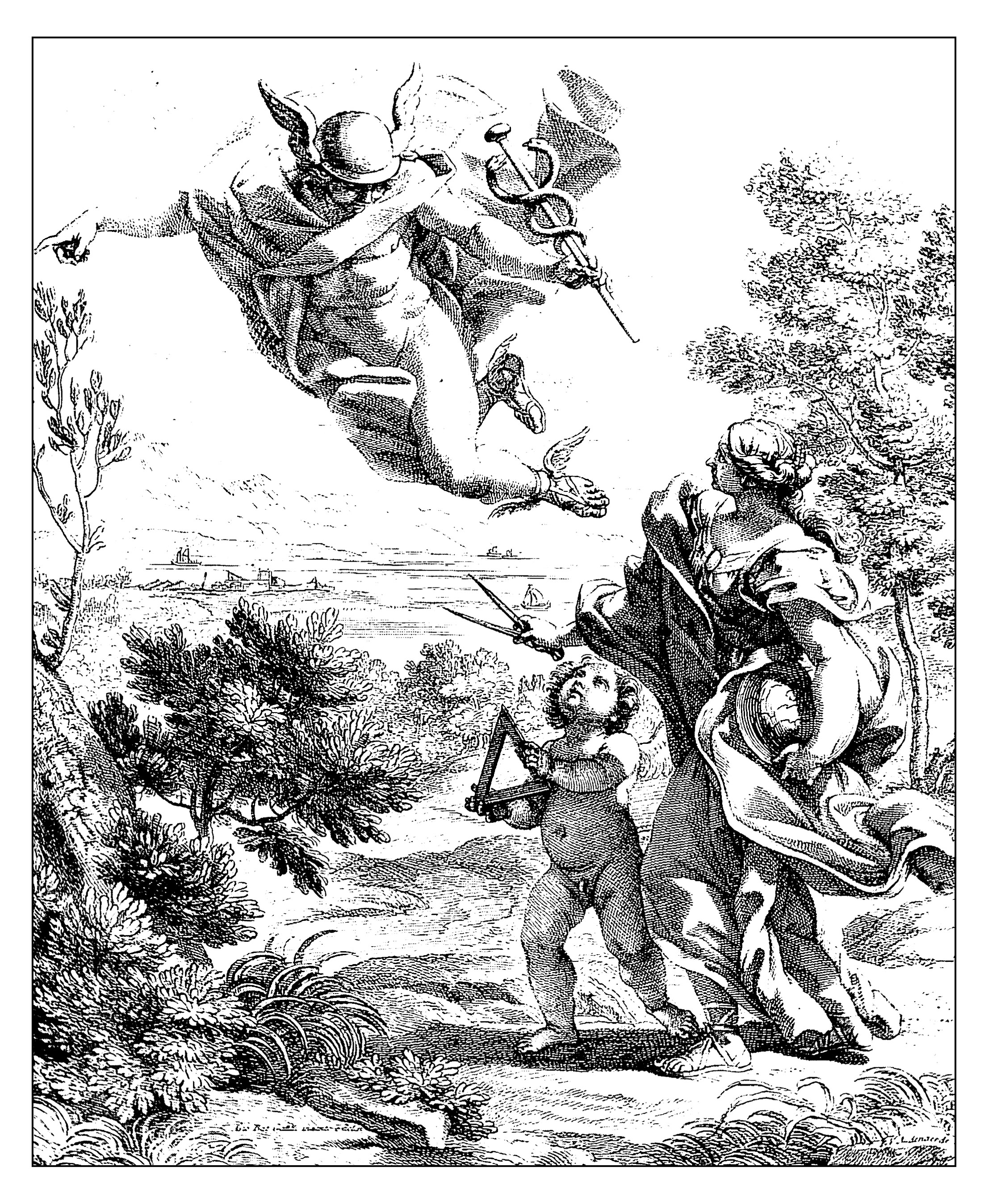 Allegory of geography, engraving by Giovan Battista