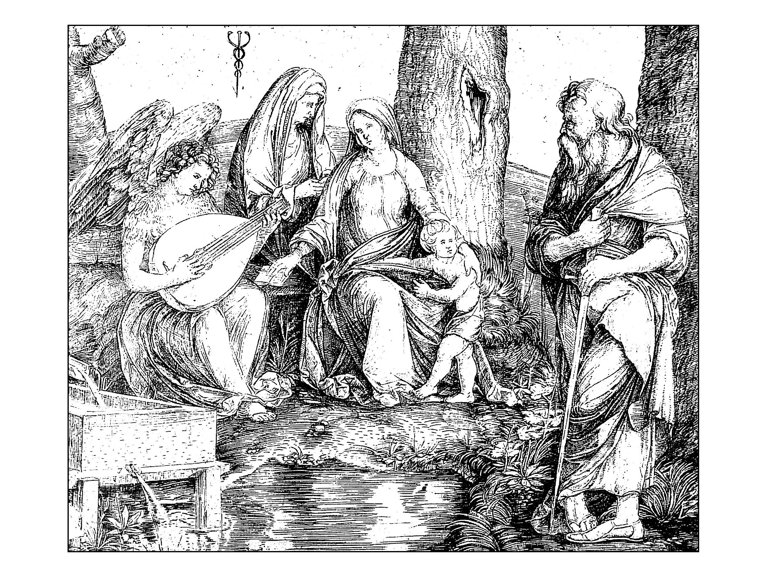 Holy conversation, Engraving by Jacopo de Barbari, around 1509