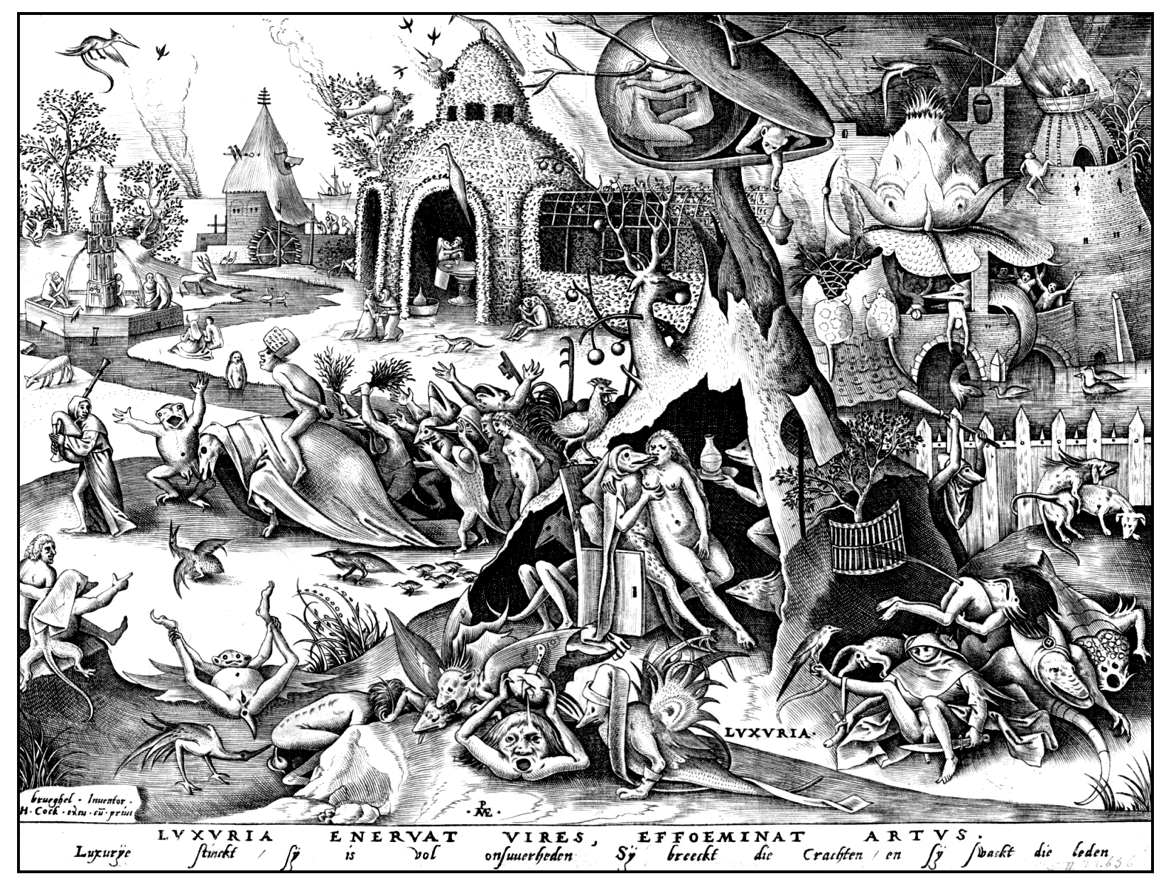 Luxuria, engraving by Pieter Bruegel, 1558