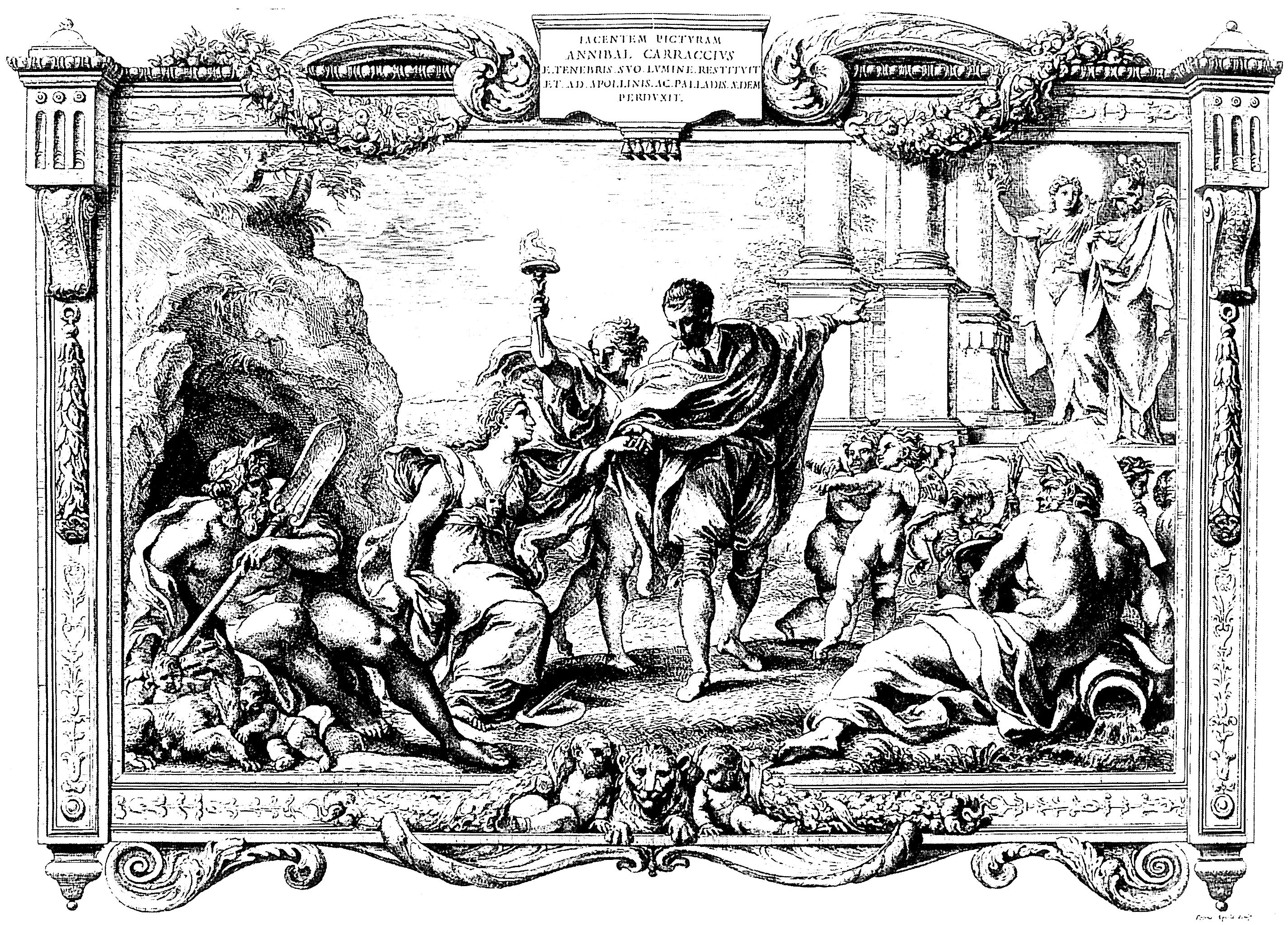 Annibale Carracci Introduces Painting to Apollo and Minerva, Engraving by Pietro Aquila, 1674