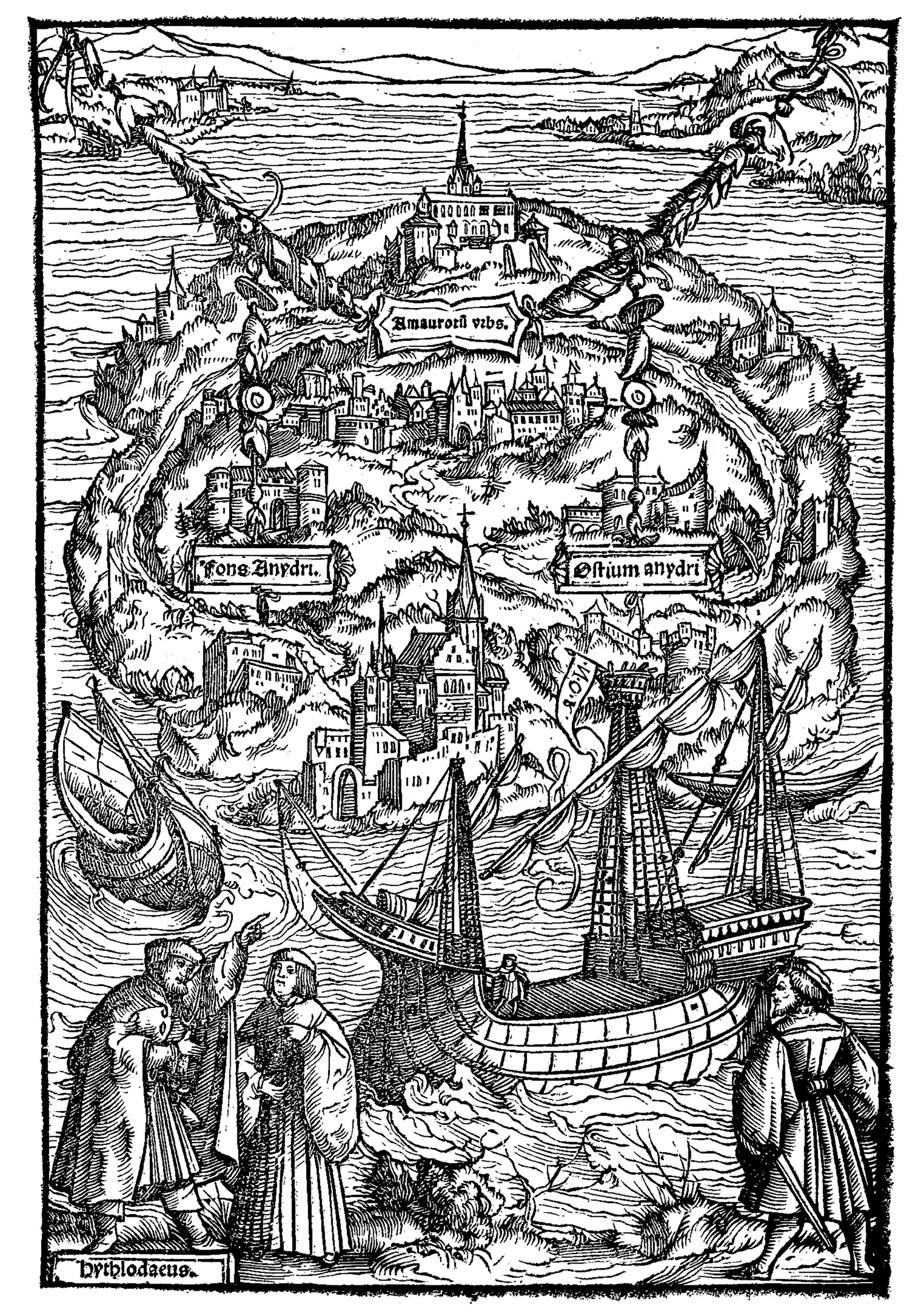 Engraving by Ambrosius Holbein for a 1518 edition of Thomas More's Utopia book. The lower left corner shows the traveler Raphael Hythlodeus describing the island.