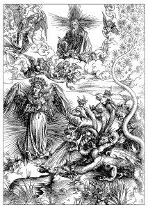 coloring-adult-engraving-albrecht-durer-the-woman-of-apocalyps-around-1497 free to print