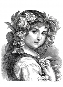coloring adult engraving flower girl 1868