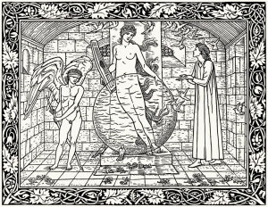 coloring-pages-adults-drawing-by-edward-burne-jones-from-the-works-of-geoffrey-chaucer-Hammersmith-1896 free to print