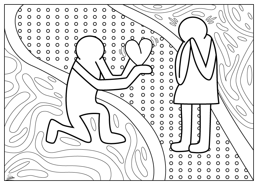 Valentines Day Coloring Page Inspired By Keith Harings Paintings