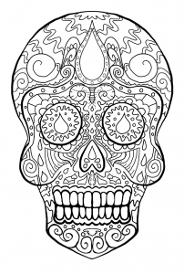 coloring skull dia de los muertos free to print - Skull Coloring Pages For Adults