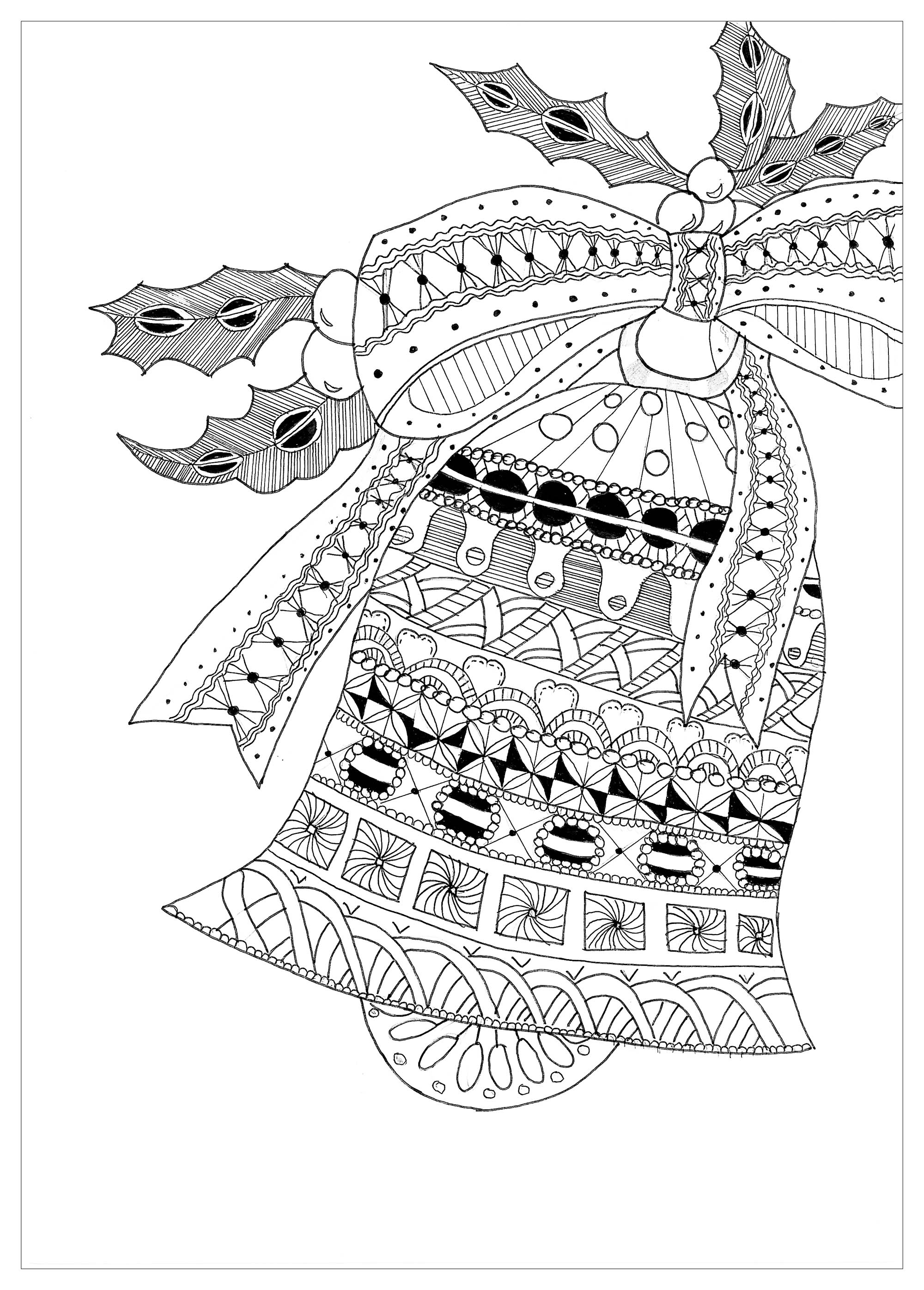 coloring page of a christmas bell with zentangle patterns