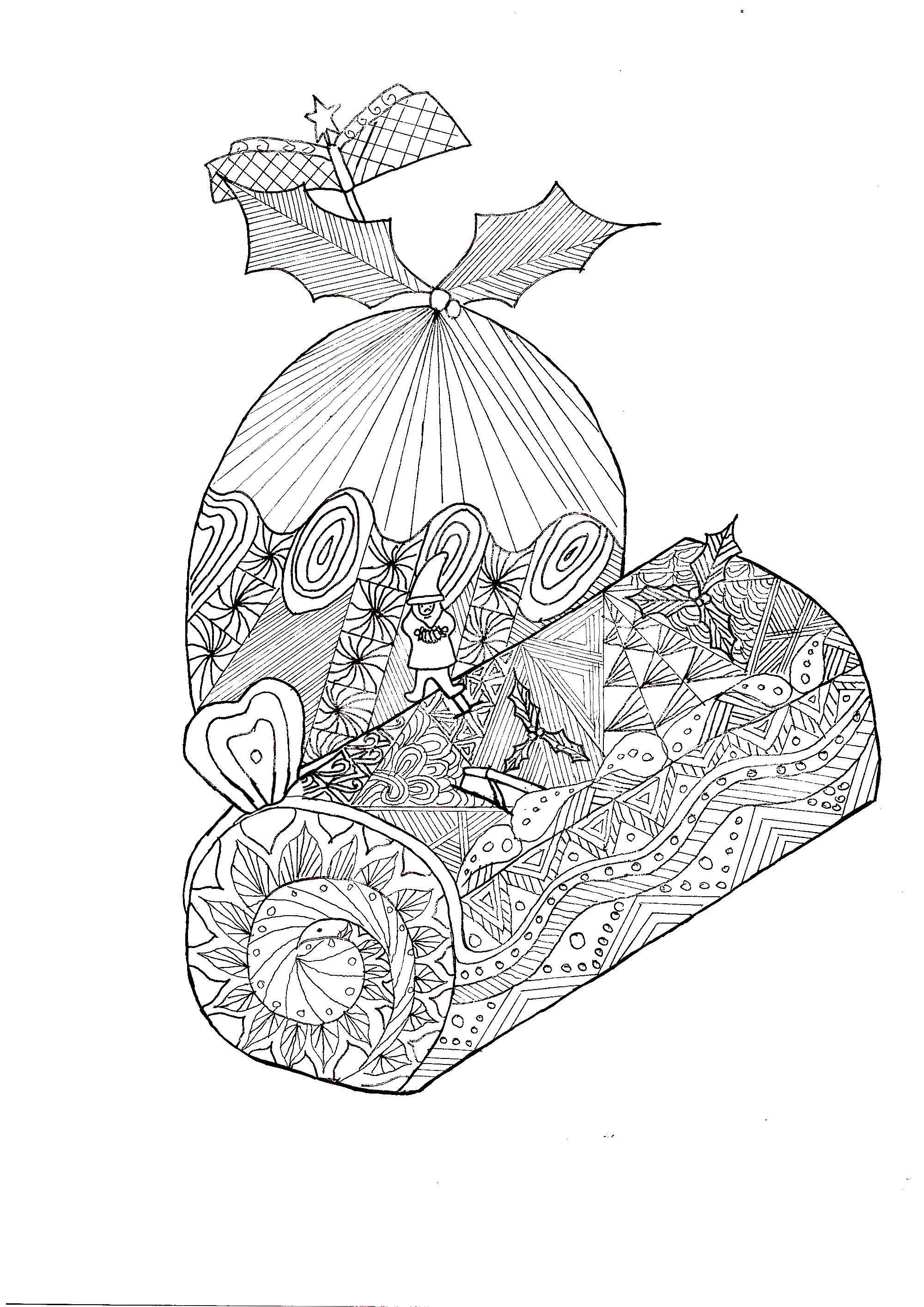 Complex coloring page of a Christmas log with a Christmas egg