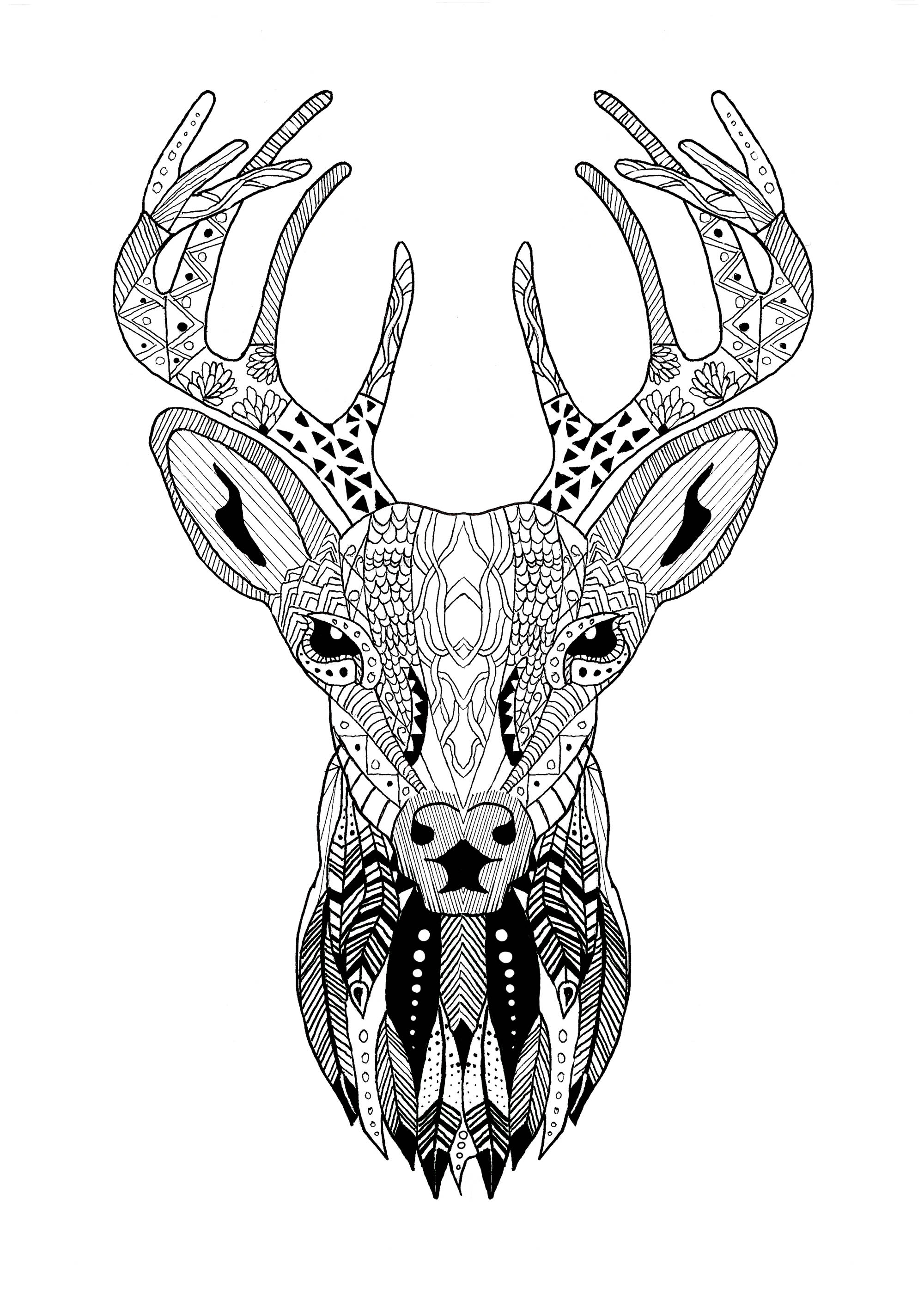 Beautiful Christmas reindeer coloring with zentangle pattern